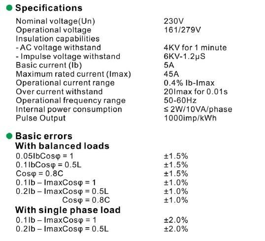 Compteur energie 45A